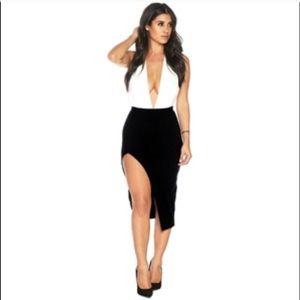 Naked wardrobe high slit skirt